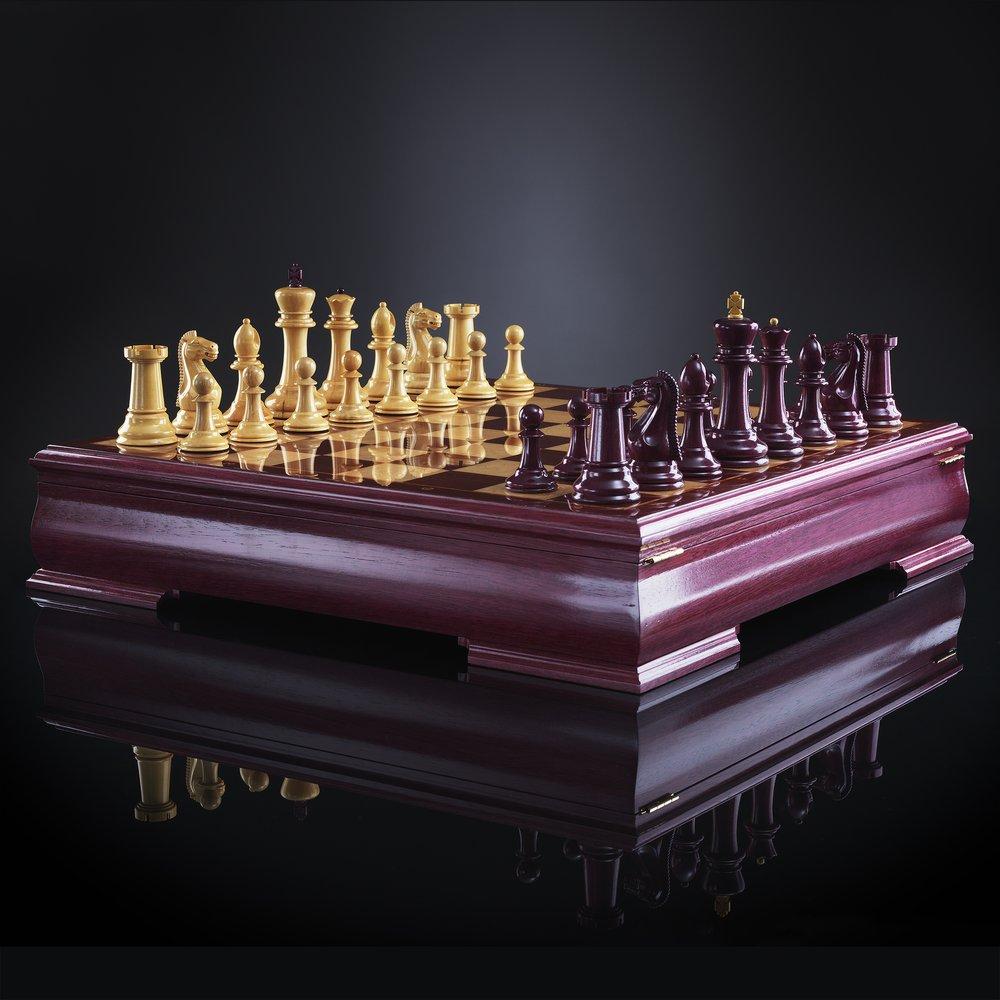 Шахматы Стаунтон люкс, амарант
